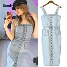Semfri Womens Denim Dress Sexy Summer Tight Fitting Vestidos with Buttons 2019 Korean Fashion Clothing Streetwear