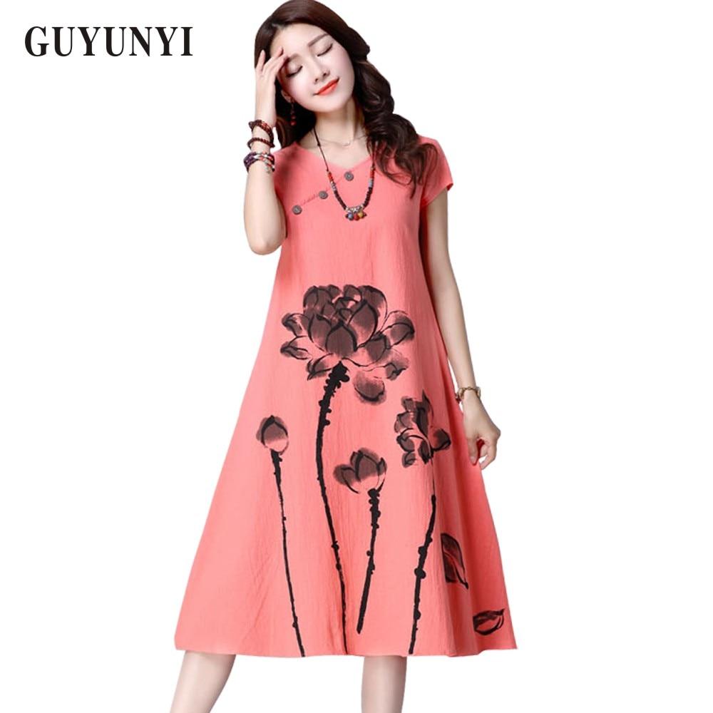 GUYUNYI Sommerkjole Plus Size Dametøj 2017 lange linnekjoler Enkelt langærmet udskrivning Vestido Feminino CX062