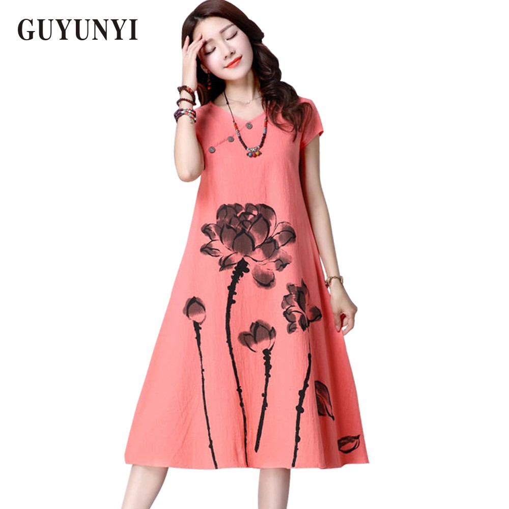 GUYUNYI Summer Dress Plus Size Women Clothing 2017 Long Linen Dresses Simple Long-Sleeved Printing Vestido Feminino CX062