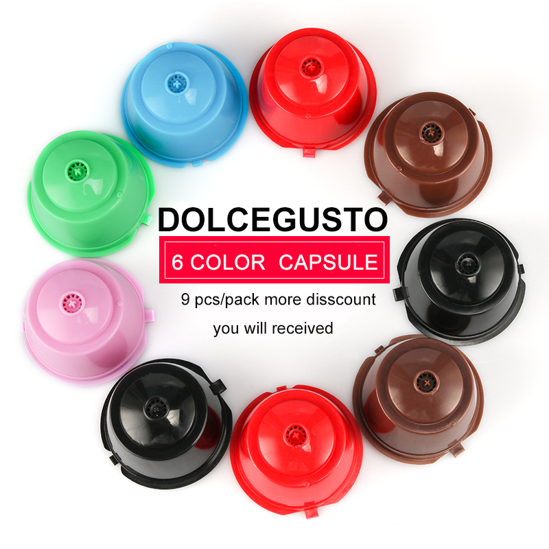 3/9pcs Refillable Coffee Capsule For Dolce Gusto Nescafe 6 Colors Dolce Gusto Reusable Capsule Capsules Free 1Spoon+1Brush