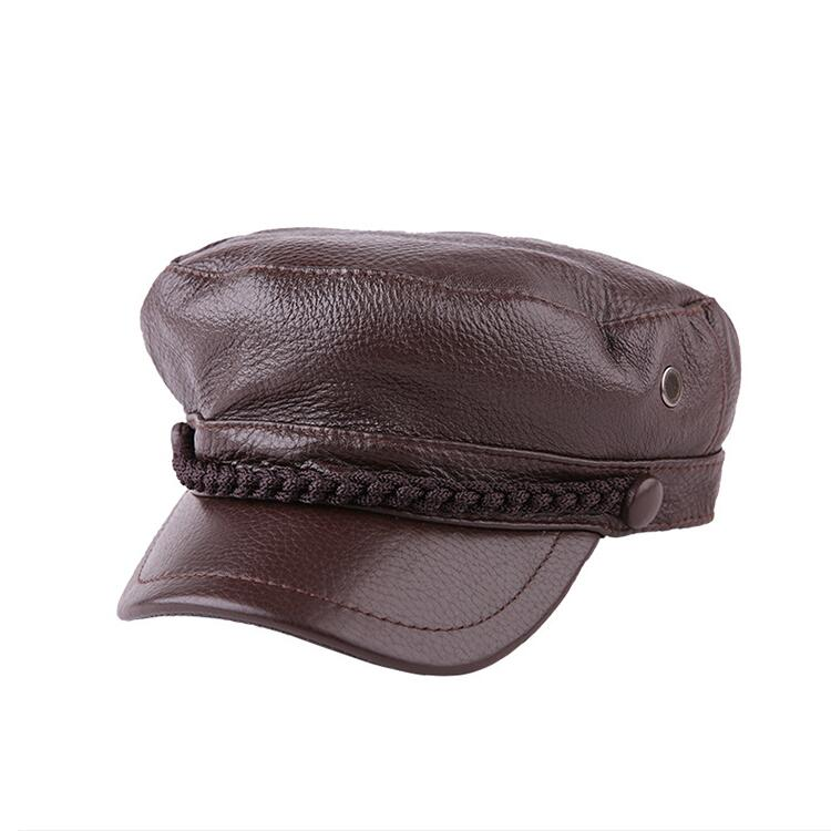 Xongkoro Ladys Full Grain Cow Leather Military Cap Boys Girls Superior Cowhide Navy Hat Women Old Fashion Army Hats Black Brown