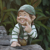 Dwarf Gnome Statue Fairy Garden Resin Art&Craft Figurines Lawn Yard Home Garden Office Desktop Decoration L3312
