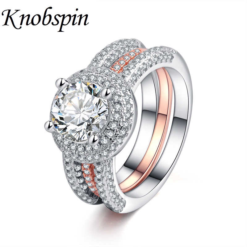 Luxury Unique Women Ring Set With Big Stone Crystal Chic Wedding