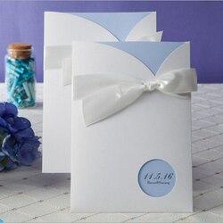 100pcs white bow with blue insert wedding invitation cards printable customizable w1111.jpg 250x250