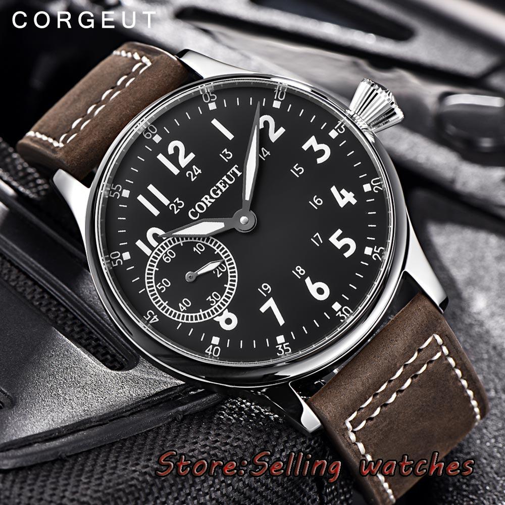 44 มม. Corgeut สีดำ dial สแตนเลสสตีล Case 17 jewels 6497 hand winding ผู้ชายนาฬิกา-ใน นาฬิกาข้อมือกลไก จาก นาฬิกาข้อมือ บน   3