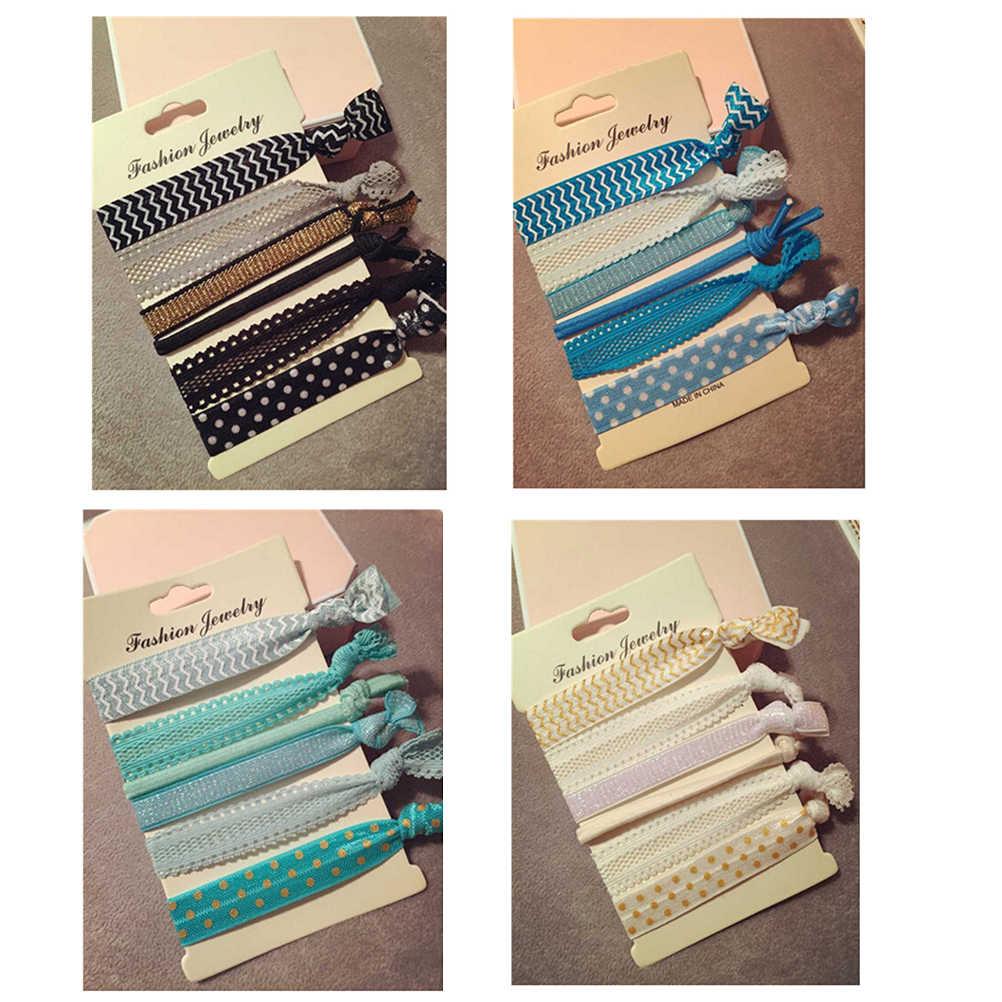 6Pcs/set Girl Ponytail Holders Hair Ties Rope Pearls Tassel Printing Elastic Hair Band Bracelets Hairband Women Accessories