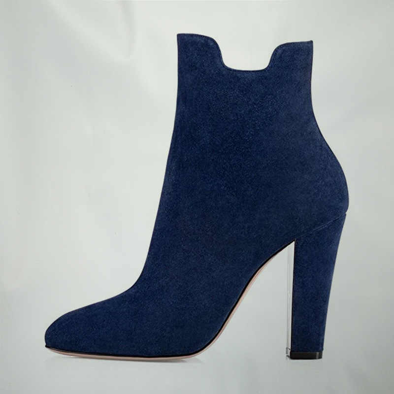116cc1013bd New Top Navy Suede Womens High Square Heel Ankle Boots Round Toe Shoes  Outdoor Ladies Dress Causal Booties Zapatos Mujeres FSJ