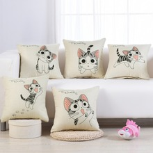 Simple cartoon cushion cute cotton pillow linen fabric sofa office