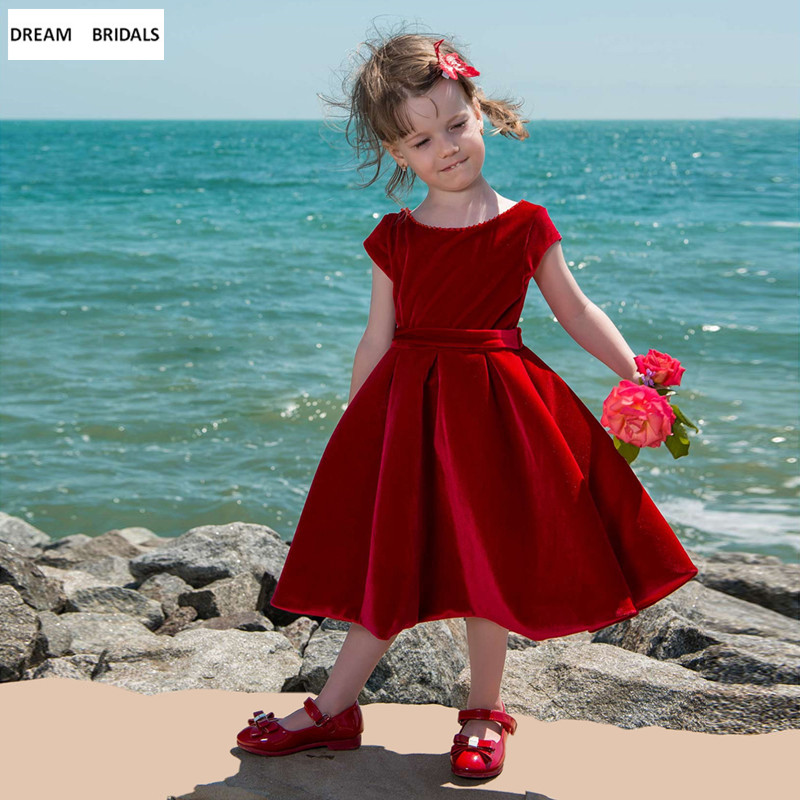 Red Velvet Fabric A-Line   Flower     Girl     Dresses   For Weddings Cap Sleeve Pageant   Girl     Dresses   Short Robe Mariage Fille With Bow