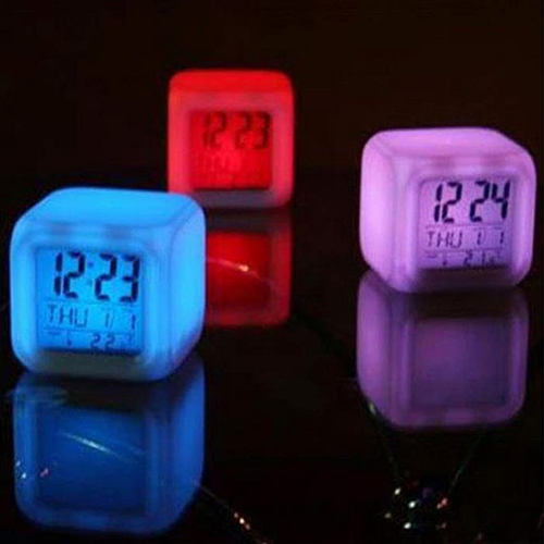 1Pc 7 LED Color Temperature Change Glowing Square Glowing Digital Alarm Clock