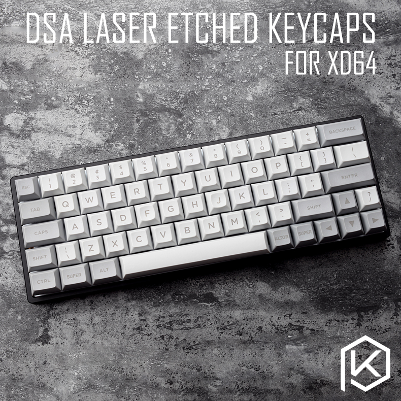 Dsa Pbt Top Printed Legends Light Grey Grey Keycaps Laser Etched Gh60 Poker2 Xd64 60% Rk61