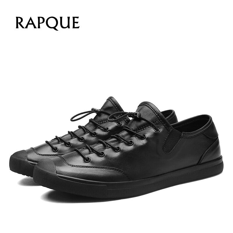 Męskie buty w stylu casual skórzane luksusowe oryginalna skóra bydlęca buty projektant fashion buty mężczyźni osobowość na świeżym powietrzu akcentem stałe czarny 8585 RAPQUE w Męskie nieformalne buty od Buty na AliExpress - 11.11_Double 11Singles' Day 1