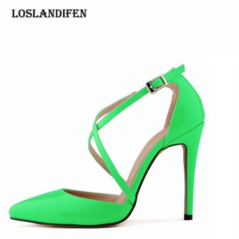 Loslandifen Pumps High-Heel-Shoes Ladies Cross-Strap Ankle-Buckle Party Pointed-Toe Plus-Size