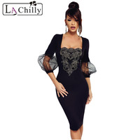 La Chilly Sexy Women Party Dress Black Mesh Lantern Sleeves Embroidered Vintage Dress Autumn Retro Pencil