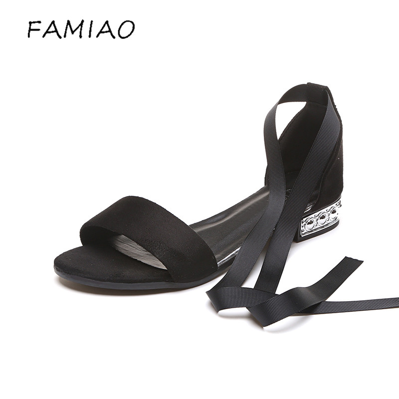 FAMIAO 2018 Summer Women Sandals Open Toe Flip Flops Womens Sandles Thick Heel Women Shoes ankle strap Gladiator Shoes