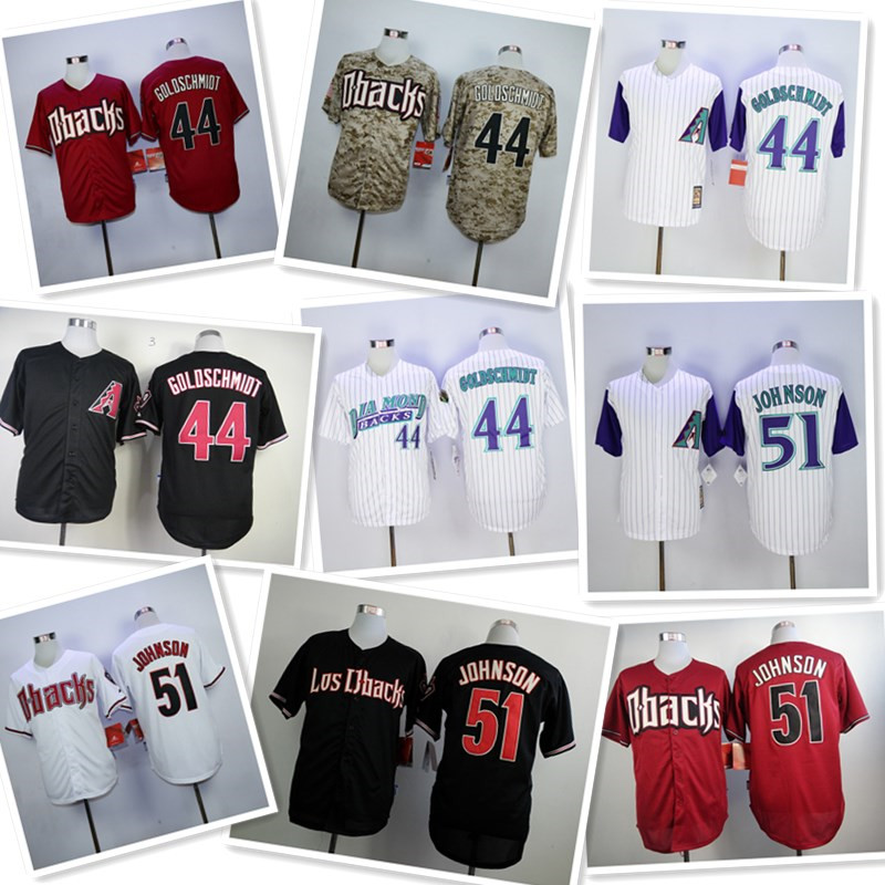 ee31be11 ... mens 44 paul goldschmidt 51 randy johnson throwback jerseys color white  red black camo top quality
