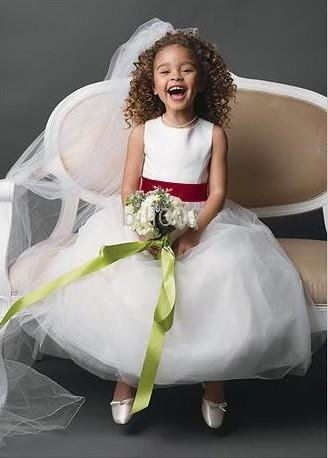 d22c019d31f with tulle skirt Flower Girl Dresses DB Style S1038 Satin sleeveless bodice