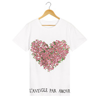 2018 Summer New Harajuku Women Letter Floral Bird Printed T Shirts O Neck Short Sleeve White