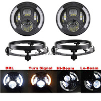 7 Inch Led Headlights Harley Headlight Black Motorcycle With 5 75 Inch Harley Fog Lights Lamps
