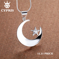 Lose money Love Romance silver Fashion Moon Star Religion cz stone Crystal Pendant Necklace 18inch 1mm snake jewelry 925