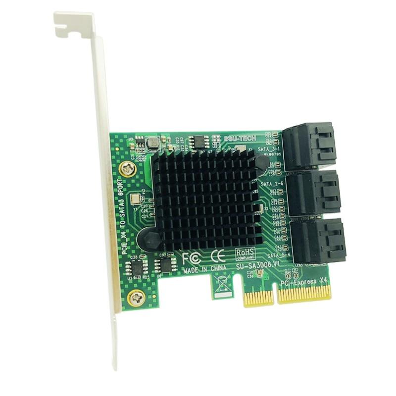 SATA Card 6 Port SATA 3.0 PCI-E PCI Express Controller Card With Bracket SATAIII 6Gbps Expansion Card Adapter Boards For Desktop