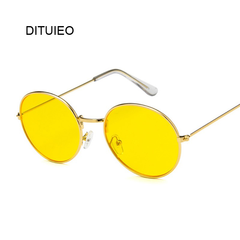 Ocean Yellow Red Round Sun Glasses For Women Mirror Retro Ladies Luxury Small Sunglasses Women Brand Designer Oculos De Sol