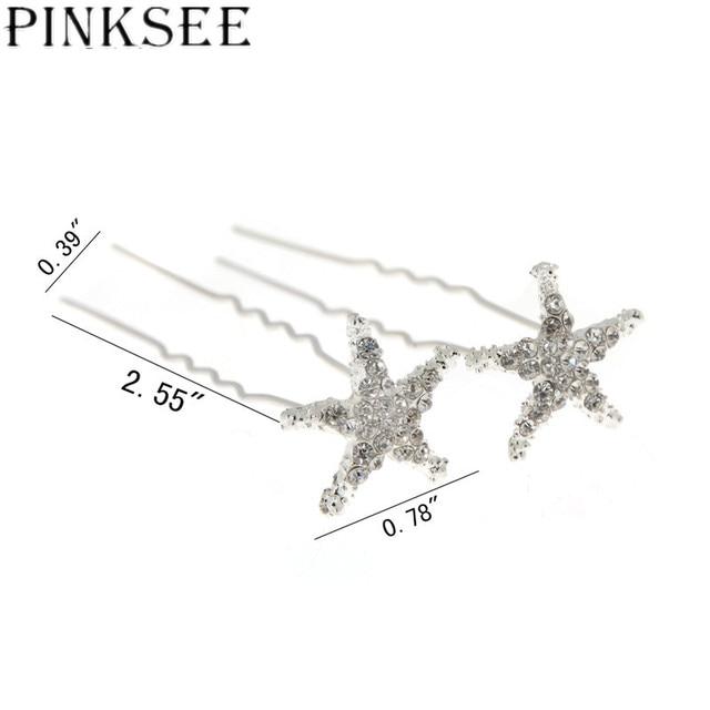 Crystal Star Hair Clips Bridal Wedding Accessories 6