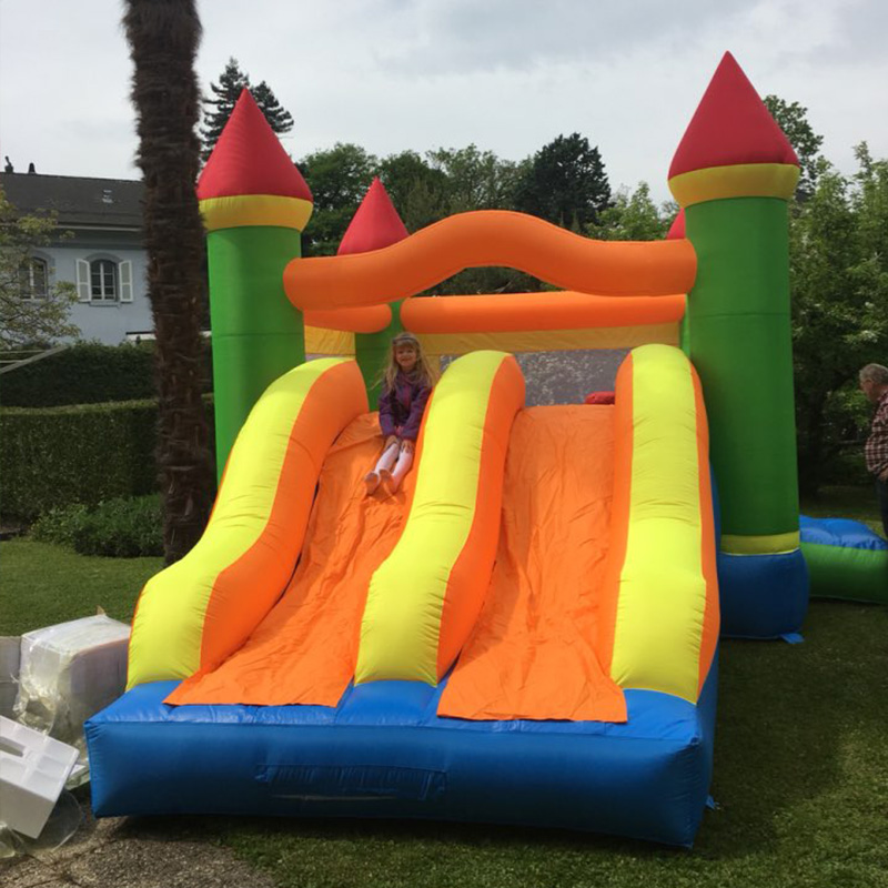 Dual Slide Bouncy Castle Inflatable Bouncer Jumping Bounce House Inflatable Trampoline with Slide for Residential Use tropical inflatable bounce house pvc tarpaulin material bouncy castle with slide and ball pool inflatbale bouncy castle