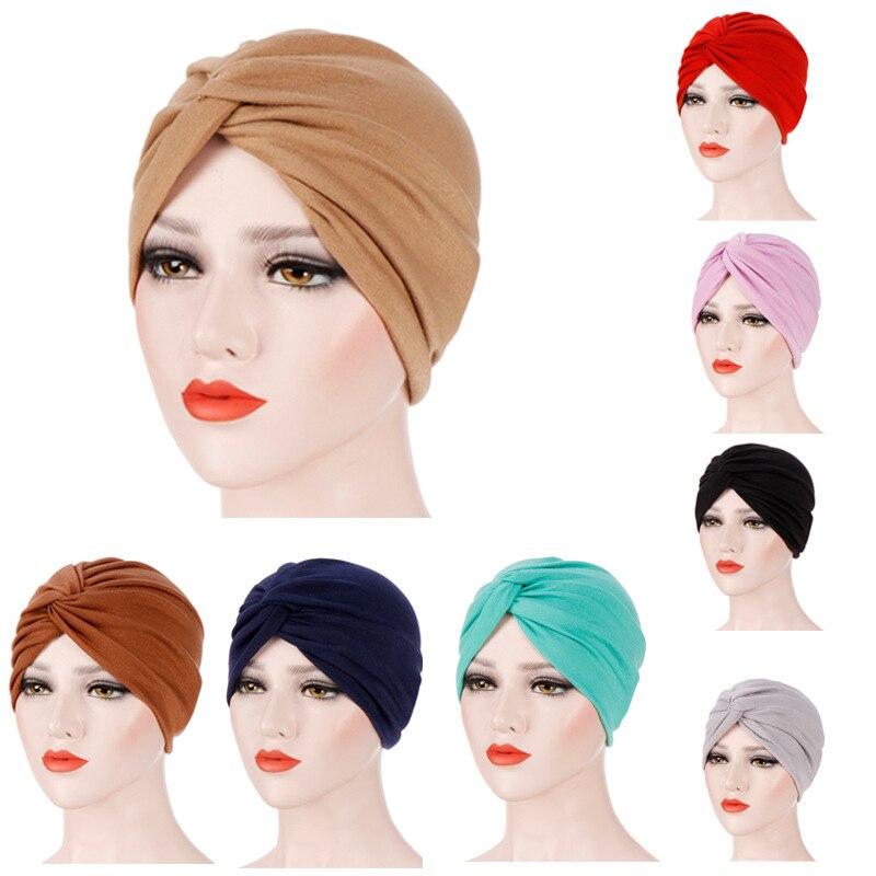 Muslim Women Elastic Cross Cotton Turban Hat Cancer Chemo Beanies Cap Headwear Headwrap Plated for Hair Loss Accessories