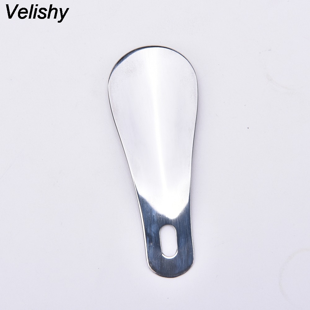 1Pcs Velishy Hot Selling Portable Mini Shoe Horn Professional Stainless Steel Shoe Horn Long Shoespooner Spoon 10cm