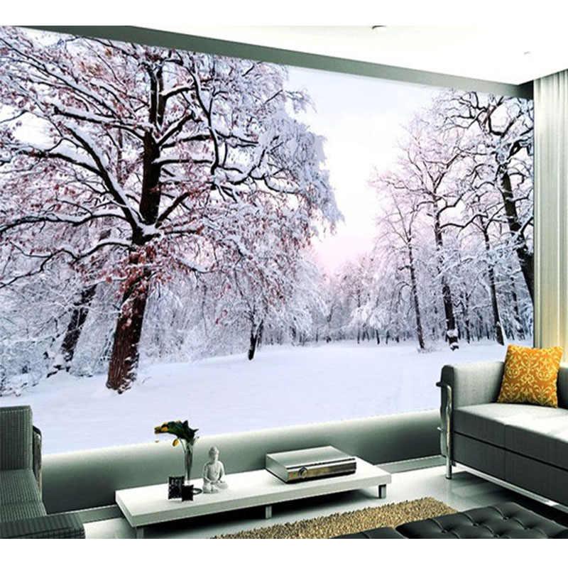 Custom 3D Murale Carta Da Parati Bella Inverno Neve Paesaggio Pittura Murale Soggiorno TV Sfondo Della Parete Moderna Semplice 3D Complementi Arredo Casa