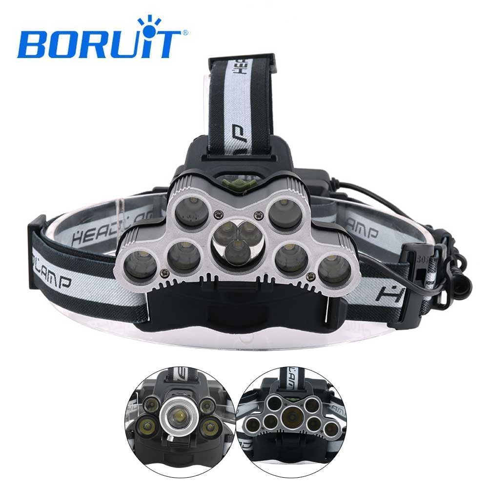 BORUIT super bright headlamp XML T6 LED headlight usb rechargeable head lamp use 18650 Battery high power torch head flashlight r3 2led super bright mini headlamp headlight flashlight torch lamp 4 models