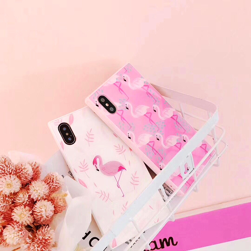 Luxury Pink Flamingo Square Case For iphone 7 Silicone Back Cover for iphone 8 8plus 7 7plus 6/6S Plus X