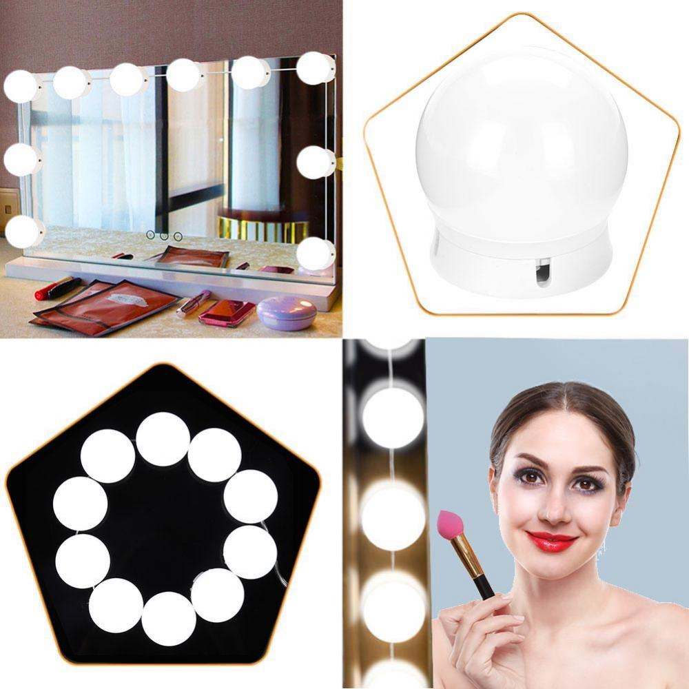 10 Pcs Vanity LED Mirror Light Makeup Adjustable Comestics Mirror Light Kits With Dimmable Lights Bulb Brightness Make Up Lights makeup mirror lights led vanity table light bulb kit usb charging adjustable brightness lights for bathroom dressing table light