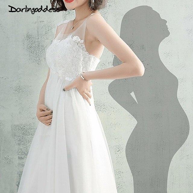 Darlingoddess Vestido De Noiva 2018 дешевые пляж свадебное платье Кружево Аппликации Империя Boho Свадебные платья для беременных Для женщин
