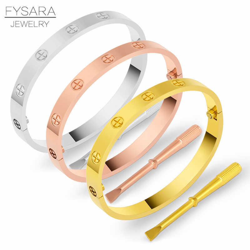 FYSARALuxury Titanium Steel Classic Crystals Cross Bangles Women Men Screwdriver Wristband Bangle Couple Gold Love Screw Bangles