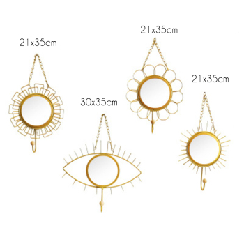 Nordic style Geometric Eye Flower Design Mirror Iron Art Hooks Wall Hanging Handmade Home Decoration Hook For Key Clothes 1