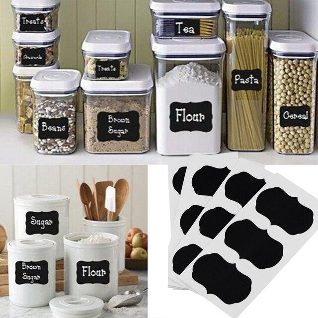 kitchen jars tile countertops 36 pcs set blackboard sticker craft organizer labels chalkboard chalk board 5cm x 3 black