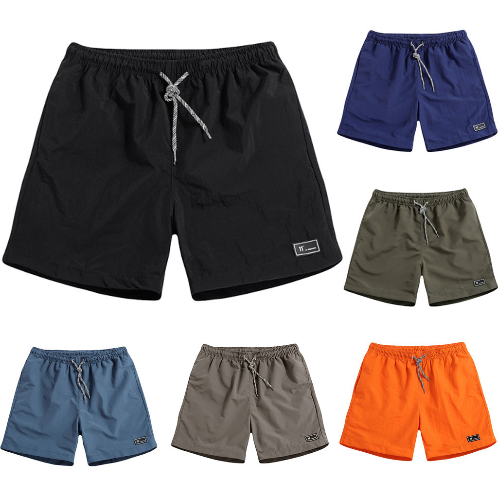 Mens Summer Plus Size Thin Fast-Drying Beach Trousers Casual Sports Short Pants