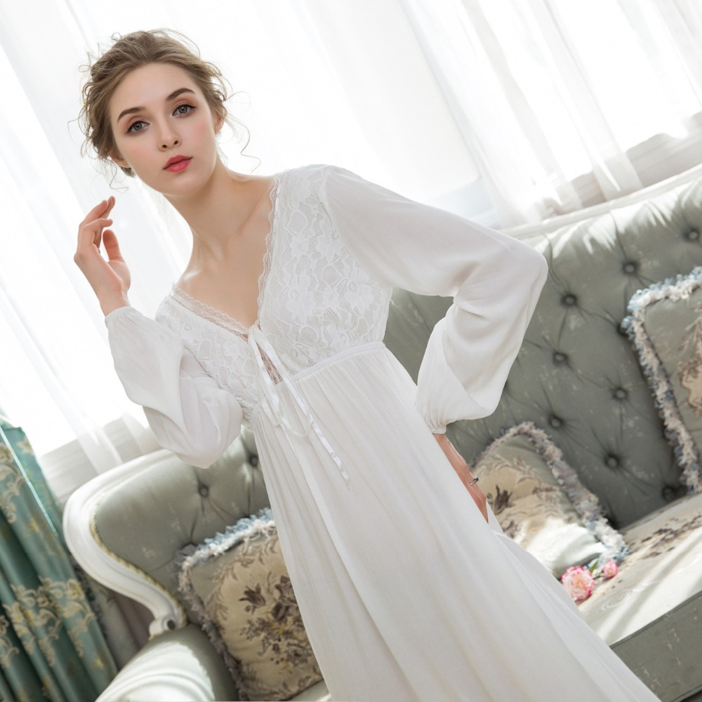 Cotton 100% Women Long Nightdress Elastic Cuff Lace   Nightgowns     Sleepshirts   Ladies Sexy Bow Party Dress Spring&Autumn Nightwear