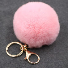 17 Color Trinket Artificial Fur Ball Keychain Pompom Fur Keychains on The Bag Cute Fluffy Faux Pompon Pendant Accessories(China)