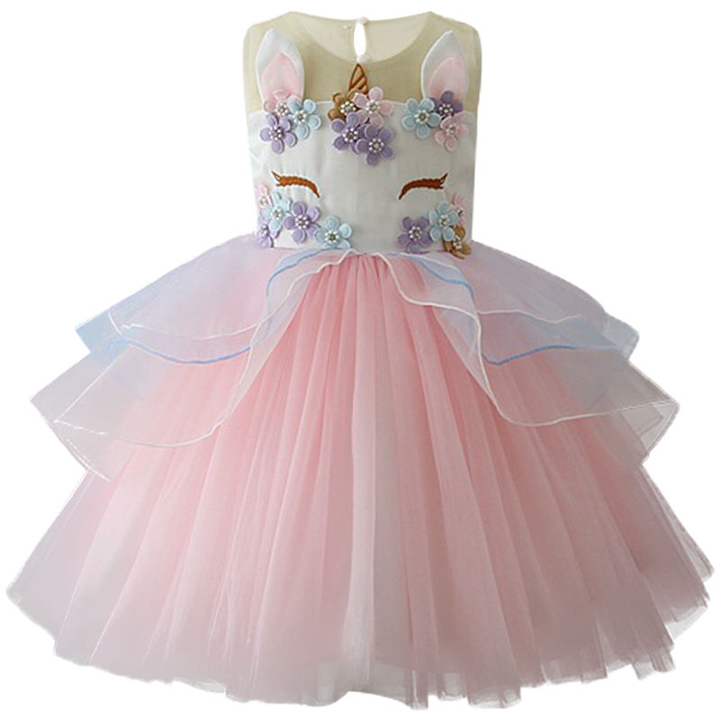 2018 Kids Girls Unicorn Beading Floral Mesh Tutu Dresses Party Pageant Formal Dress Sleeveless Tulle Cosplay Dress Girls clothes