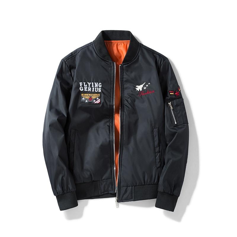 9847fcc5e57 Men Bomber Flight Pilot Jacket Coat Thin Navy Flying Jacket Military Air  Force Embroidery Baseball Uniform