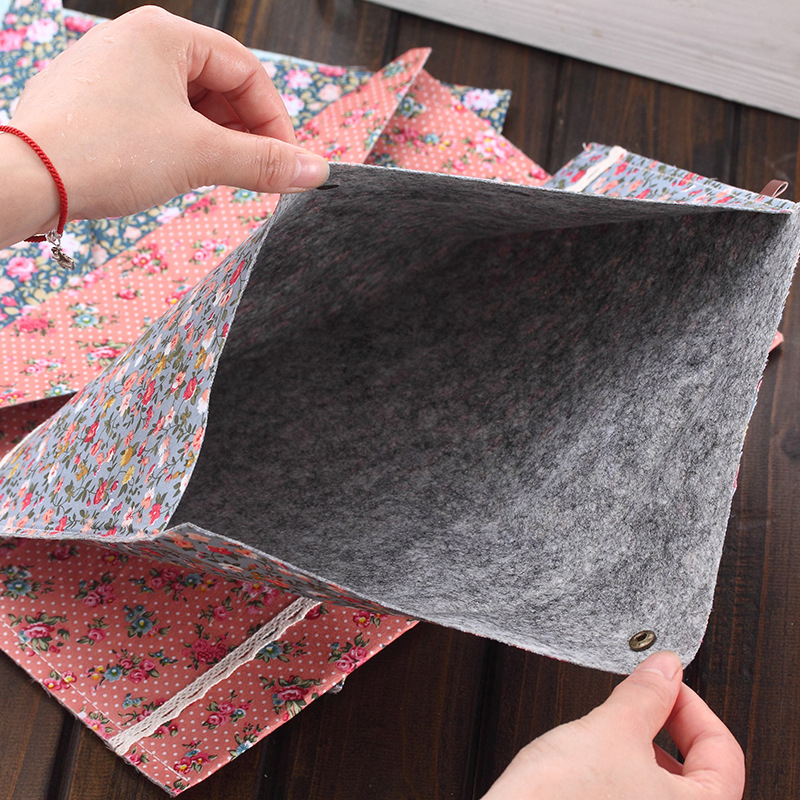 Big Capacity Document Bag New Elegant Floral A4 Bag Business Briefcase File Folders Chemical Felt Filing Products Student Gifts