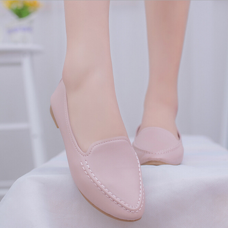 Women Flats 2016 New Summer Style Casual Solid Pointed Toe Slip-On Flat Shoes Soft Comfortable Women Shoes Plus Size 35-40 2017 new fashion spring summer boat shoes women candy color flats pointed toe slip on flat fashion casual plus size pu shoes