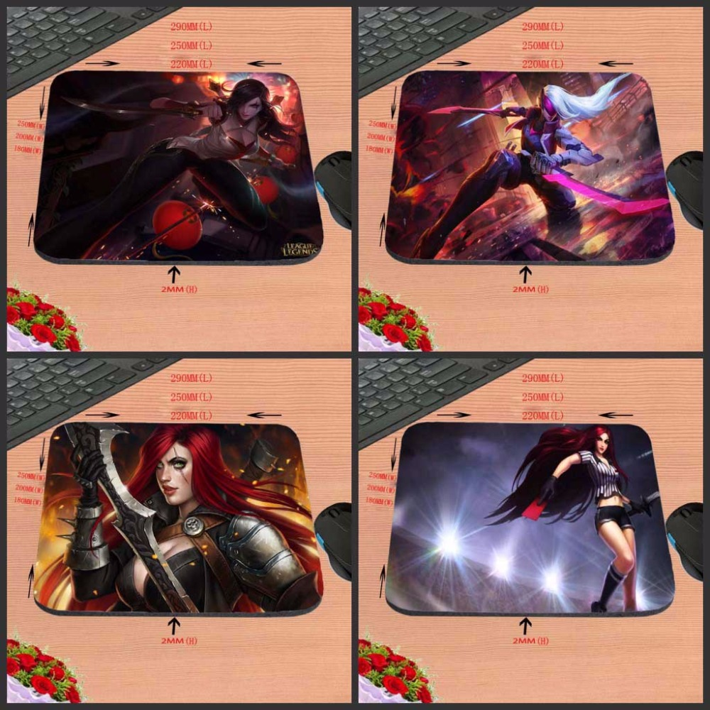 Katarina League of Legends Skriv ut Anti-Slip New Arrival Skräddarsydd Rektangulär Gummi Musmatta Computer PC Nice Gaming