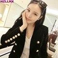 HZLLHX Vintage черная бархатная куртка женщины красивый Outwears Элегантный Офис Леди Черный лев Кнопки двубортный Случайного Пальто