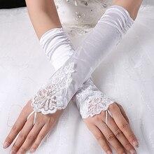 Новая мода дешевые белые красные свадебные для большой вазы без пальцев Кружевные свадебные перчатки без пальцев Свадебные перчатки Свадебные аксессуары