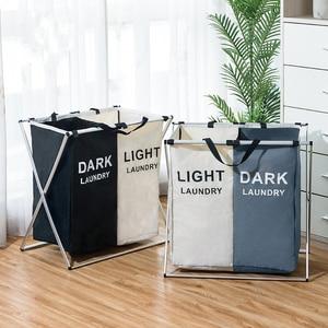 Image 5 - Kirli giysi saklama sepeti üç ızgara organizatör sepet katlanabilir büyük çamaşır sepeti su geçirmez ev çamaşır sepeti