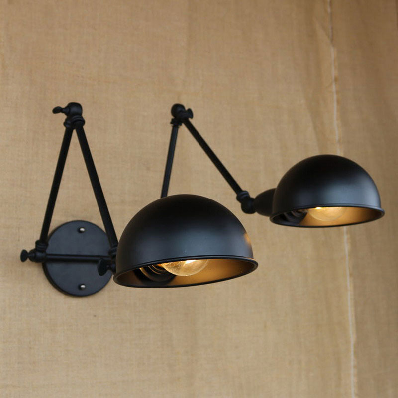 E27 vintage indoor black wall lamps loft swing Rock wall sconce 2 head lights Robot arm sconce wall lamp for workroom cafe e27 vintage indoor black wall lamps loft swing rock wall sconce 2 head lights robot arm sconce wall lamp for workroom cafe